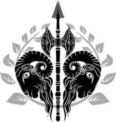 Ram axe with laurel wreath vector