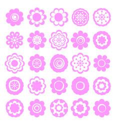 Realistic paper sticker set flowers vector