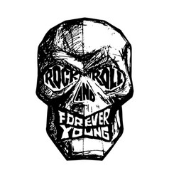rock and roll forever young hand-drawn black and vector image
