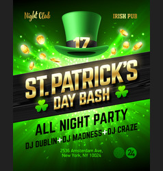 Saint patricks day bash celebration poster design vector