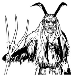 Satan standing and holding a pitchfork vector