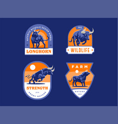 Set bulls and buffalo in different poses vector