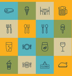 Set of 16 restaurant icons includes cutlery vector