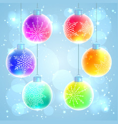 set of 6 colorful rainbow christmas balls vector image