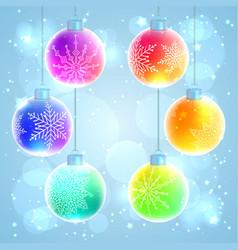 Set of 6 colorful rainbow christmas balls vector