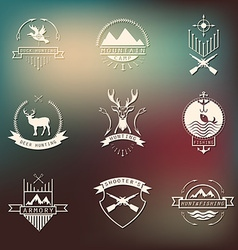 Set of camping and hunting logos Mountain vector
