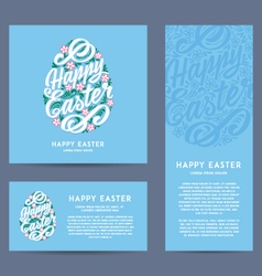 Set of Happy Easter greeting Cards hand-drawing vector