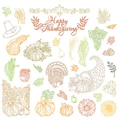 Set of outlined Thanksgiving design elements vector