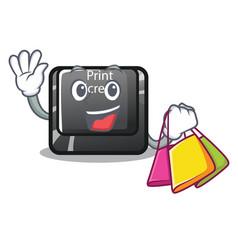 shopping button print screen in shape mascot vector image