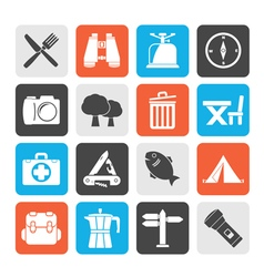 Silhouette Camping tourism and travel icons vector image