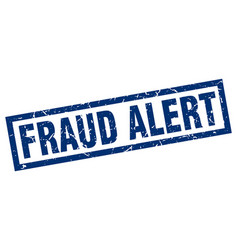Square grunge blue fraud alert stamp vector