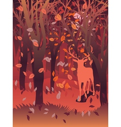 Stag in Autumn Forest2 vector