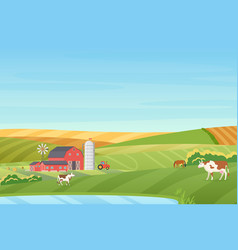 Summer warm weather farm coutryside landscape with vector