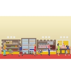 Supermarket interior in flat vector image