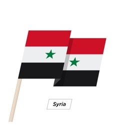 Syria Ribbon Waving Flag Isolated on White vector image