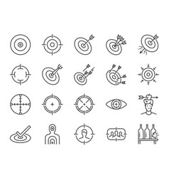 target line icon set vector image