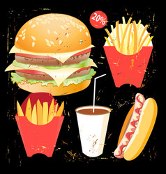 Tasty burger food menu vector