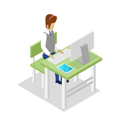 Teacher teaching informatics isometric 3d icon vector