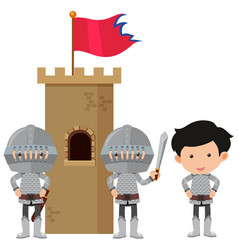Three knights at castle tower vector