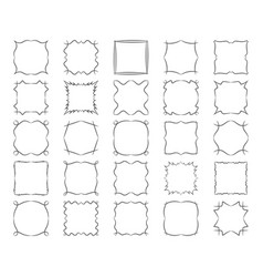 Twisted square calligraphic frames set abstract vector