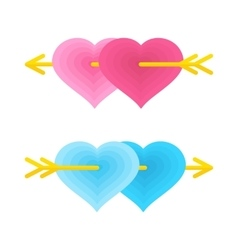 two love gay hearts vector image
