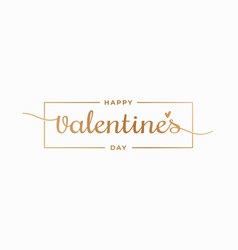 valentines day border gold valentines day sign vector image