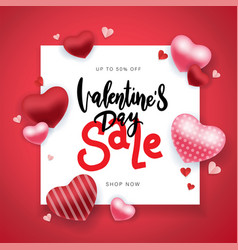 valentines day sale background with balloons heart vector image