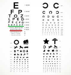 Various versions of the table for eye tests vector