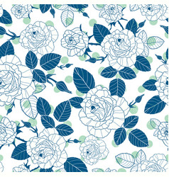 Vintage denim blue and white roses and vector
