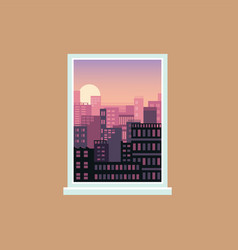 window view sunset over modern city urban vector image