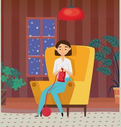 woman knitting at home needlecraft hob vector image