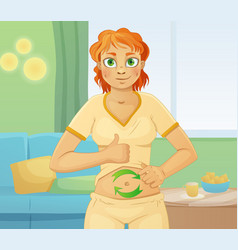 Woman with good digestion well feeling stomach vector