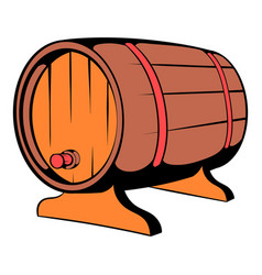 wooden barrel of beer with a tap icon icon cartoon vector image