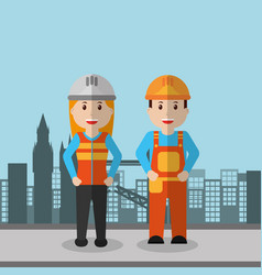 workers woman and man construction employee vector image
