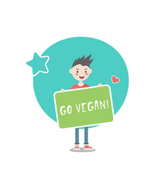 young character with a go vegan sign vector image