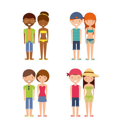 Young people on summer vacation design vector