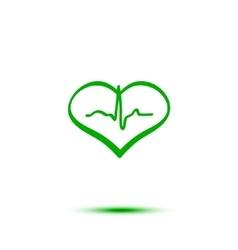 Green heart and ecg vector image