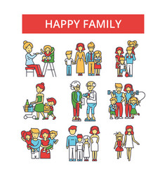 happy family thin line icons linear vector image