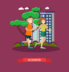 scamper in flat style vector image