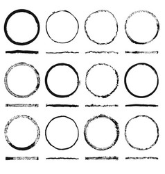 set of round frames sloppy shape and texture vector image vector image