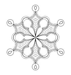 snow flake in zentangle doodle style black mandala vector image vector image
