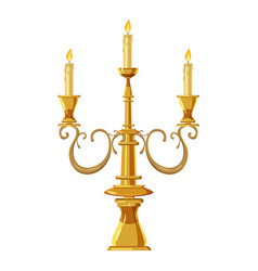 candelabrum with three candles icon cartoon style vector image vector image