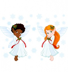 Christmas fairies vector image vector image