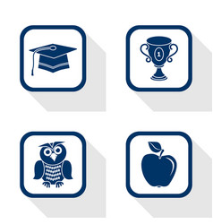flat design icons education set vector image vector image