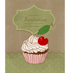 greeting card with a birthday cake vector image