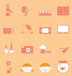 Kid activities orange icons set vector