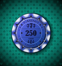Poker chip nominal two hundred fifty on card vector image