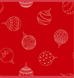 seamless pattern of doodle christmas tree ball toy vector image vector image