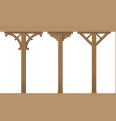 set of vintage wooden columns vector image