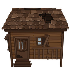 wooden house with ruined condition vector image vector image